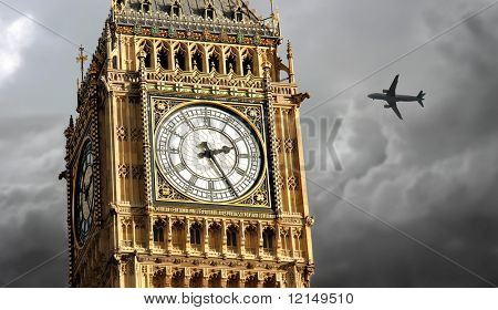 big ben and a airplane