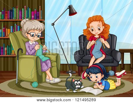 Family members enjoying freetime together illustration