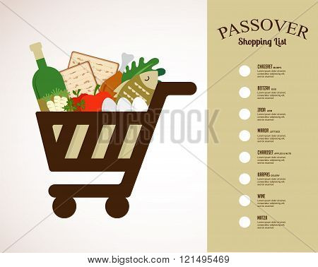 shopping cart filled in with traditional food for passover holiday. shopping list