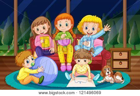 Girls and boy in pyjamas at night illustration