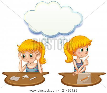 Girl having positive and negative thoughts illustration