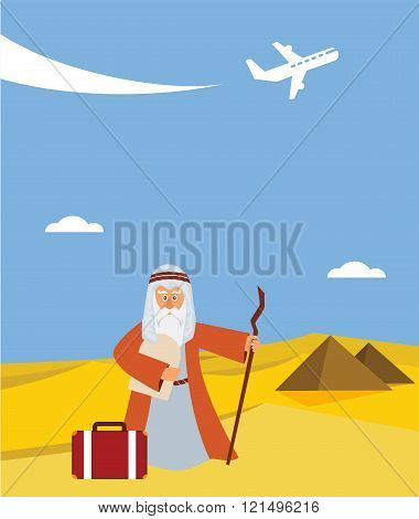 time for passover  vacation in Hebrew.  moses with torah and suitcase