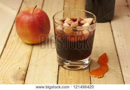 Sangria With Apple, On Rustic Wooden Texture, With Copyspace