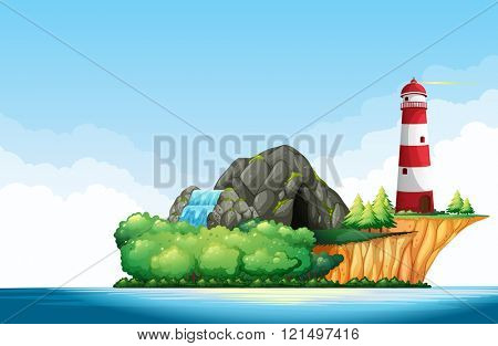 Nature scene with lighthouse and cave on the island illustration