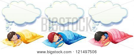Boy and girl sleeping under the blanket illustration