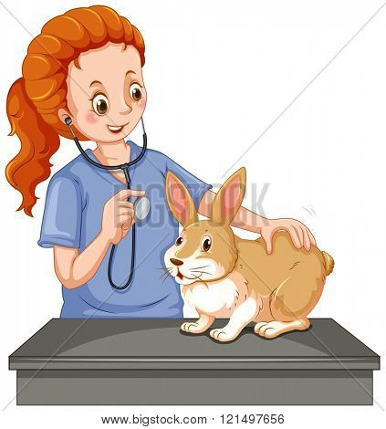 Vet examining little bunny illustration