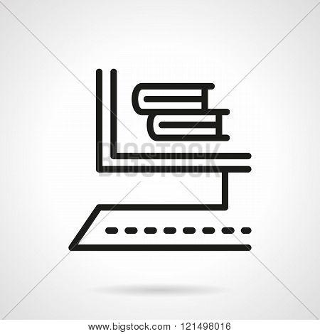 Online bookstore black line design vector icon