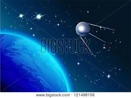 Retro Satellite in space. Cosmonautics Day. First satellite in space