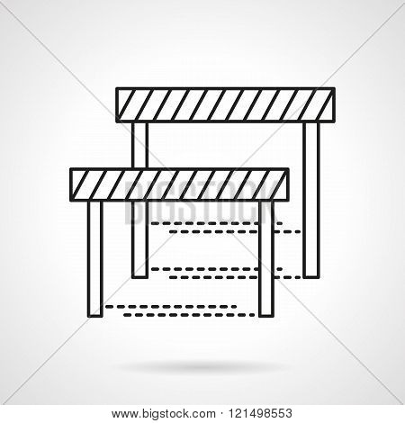Sport obstacles flat line design vector icon