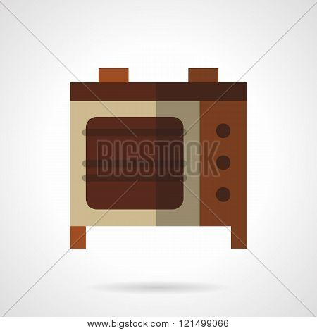 Electric oven flat color design vector icon