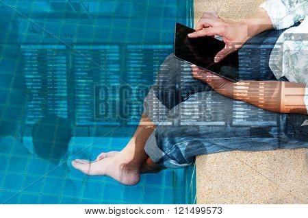Double Exposure Of Man Use Wireless Digital Tablet To Check The Flight Schedule