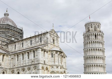 View Of Leaning Tower And The Basilica, Piazza Dei Miracoli, Pisa, Italy