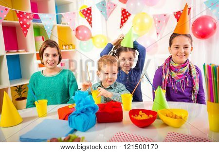 .group Of Adorable Kids Having Fun At Birthday Party, Selective Focus