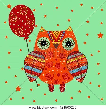 Ethnic cute owl birthday