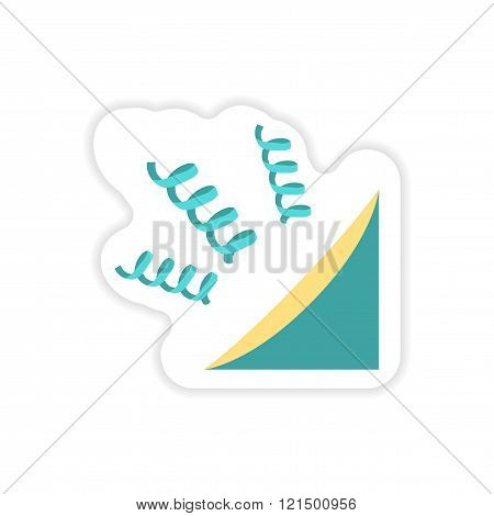 stylish paper sticker on white background streamers festive