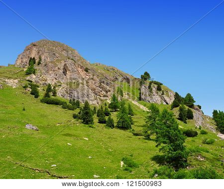 Summer mountain landscape in Italian Dolomites - Val di Fassa ,South Tyrol ,Italy