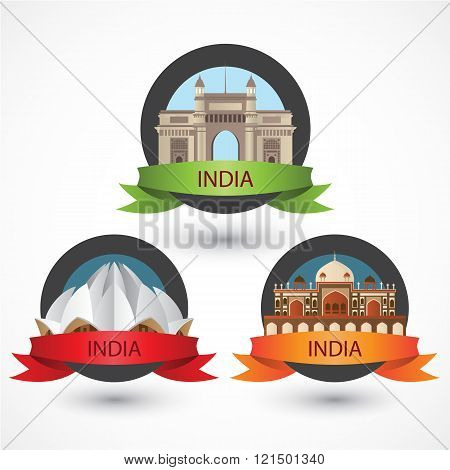 Set of India famous monuments. Lotus Temple Humayun's Tomb and the Gateway of India. Modern Flat Vector illustration can be used in web design and travel concepts. Volume 1.