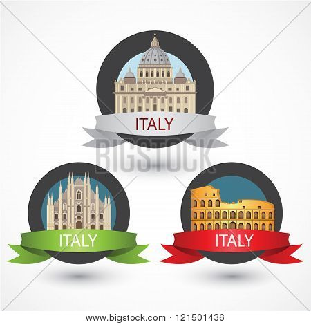 Set of Italy famous monuments. Milan Cathedral, The Colosseum and St. Peter's Basilica. Flat Vector illustration can be used in web design and travel concepts. Volume 1.