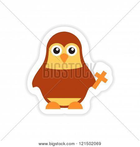 stylish paper sticker on white background penguin priest