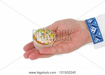 Little Easter Cake In Male Hand On A Light Background