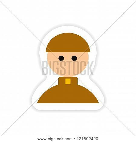 paper sticker on white background Catholic priest man