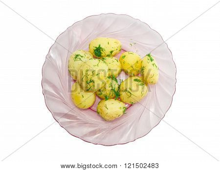 Boiled young potatoes with butter and dill, sprig of dill