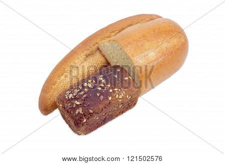 Bread With Bran, Brown Bread And Half Of Wheat Bread