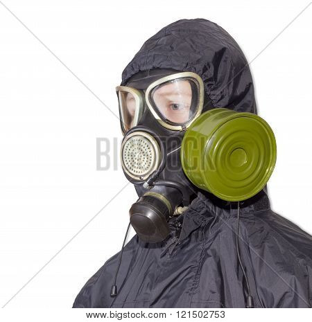Person In A Gas Mask On A Light Background