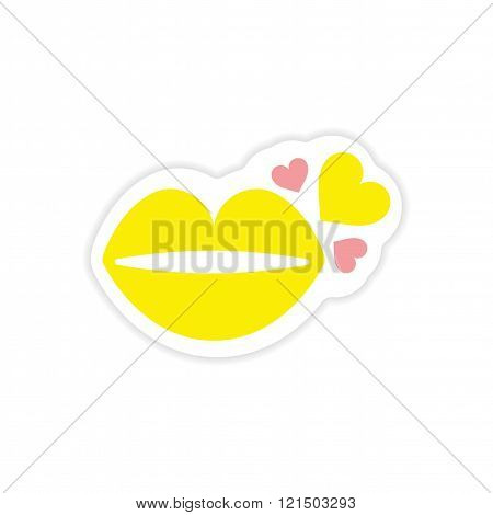 paper sticker on white background kiss heart