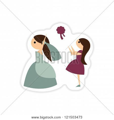 paper sticker on white background bride throws bouquet