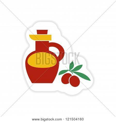 paper sticker on white background olive oil