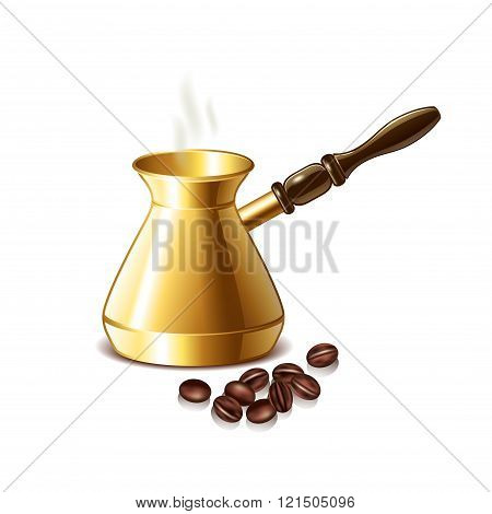 Retro Coffee Pot And Grains Isolated Vector
