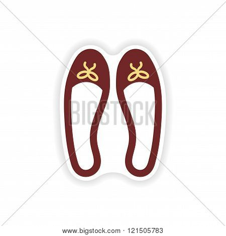 stylish paper sticker on white background women's shoes