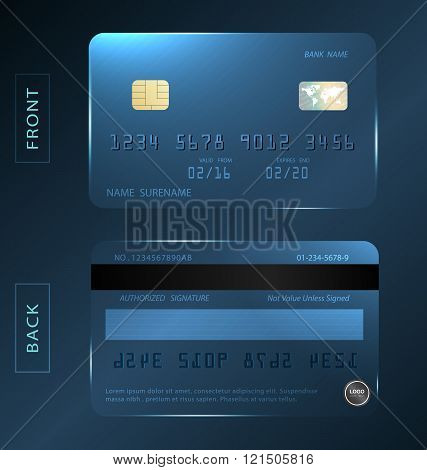 Vector/shiny Crystal Credit Debit Card Design Template