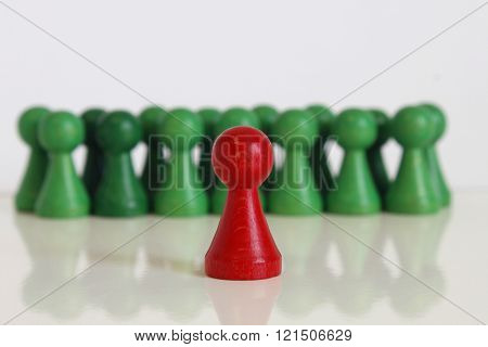 game piece figure play red green token