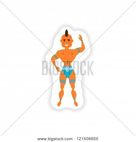 stylish paper sticker on white background carnival man
