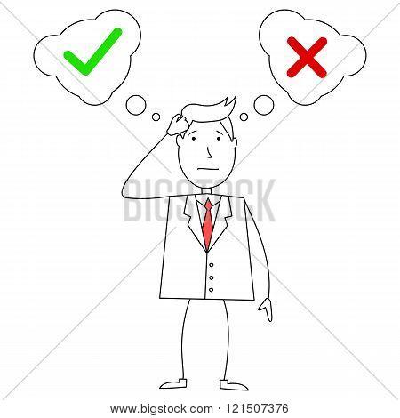 Cartoon confused businessman