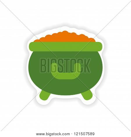 stylish paper sticker on white background cauldron coins