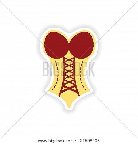 stylish paper sticker on white background women corset