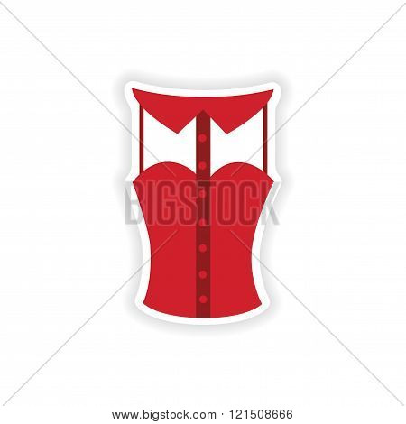 stylish paper sticker on white background blouse