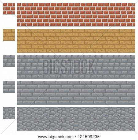 Texture for platformers pixel art vector - brick, stone and wood wall