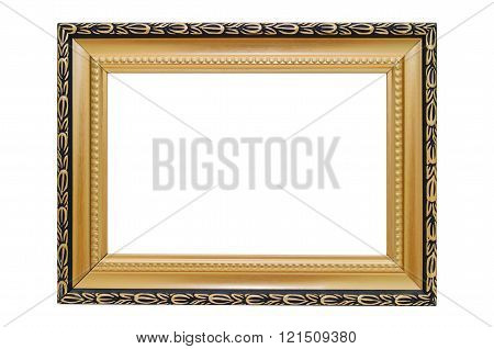 Golden Picture Frame On A White Background