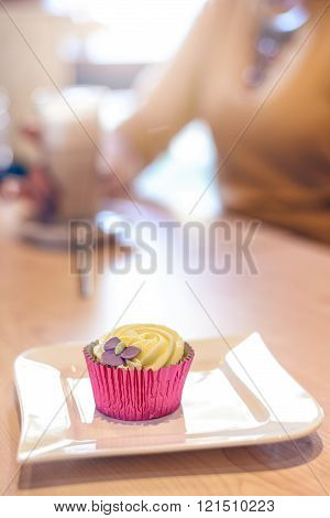 Single Little Cupcake On Plate