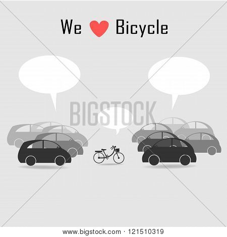 Bicycle Among Many Cars With Grey Background