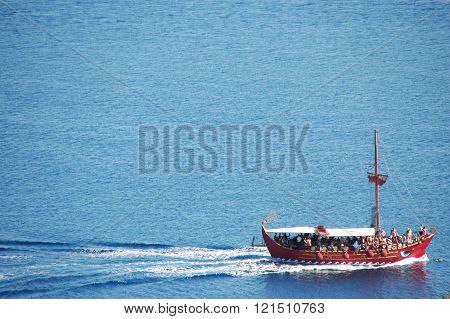 Greek boat on blue sea