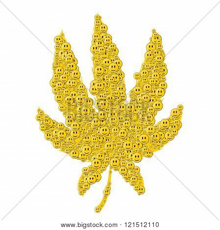 Cannabis consisting of happy face white background