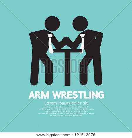 Businessman Arm Wrestling Symbol.
