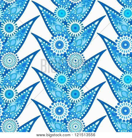 Intricate Blue Leaves and Flowers Pattern