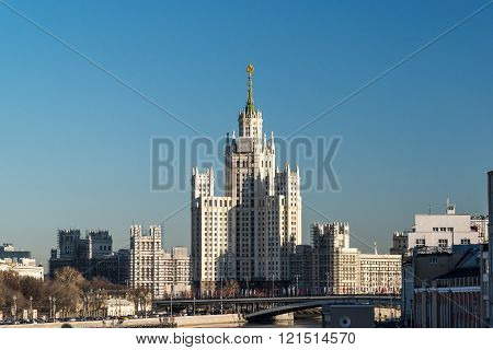 Stalin-era building on a Kotelnicheskaya Embankment, Moscow, Russia