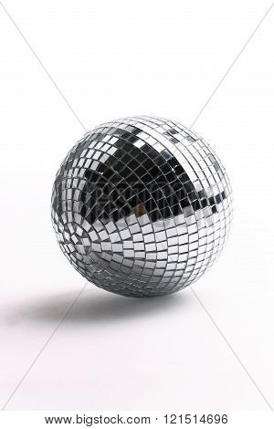 black and white disco ball isolated on white background